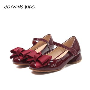 CCTWINS KIDS 2020 Baby Girl Party Princess Toddler Bow Pink Pu Leather Shoe Children Mid Heel Kid Fashion Black Shoe G1126 A0520