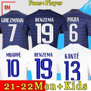 BENZEMA 19 Maillot de foot France soccer jersey maillots de football Euro Cup 2021 21 22 Francais français Coupe d'Europe MBAPPE GRIEZMANN chemise de la équipe Hommes + enfants kit