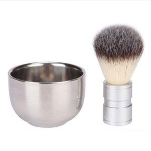 Bâtiment en acier inoxydable brosse de rasage de la barbe d'animaux Coiffeur en métal manuel en remuant et moussant le visage des hommes