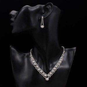 Earrings & Necklace Silver Color Rhinestone Crystal Bridal Jewelry Sets For Women Bracelet Set Wedding Aessories