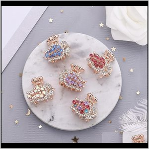 & Jewelry Drop Delivery 2021 Fashion Full Crystal Rhinestone For Women Mini Small Roses Hairpins Crab Claws Hair Clips Barrettes Aessories He