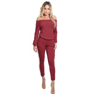 Women's Jumpsuits & Rompers High Quality Long Sleeve Sexy Women Off Shoulder Jumpsuit Striped Bodycon Pants Ladies Party Trousers Clubwear F