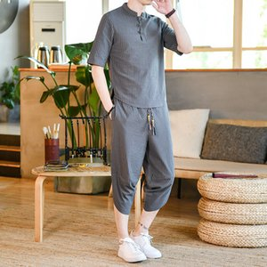 hang Men's Tracksuits Retro Chinese style disc buckle stand collar cotton linen stripes fashion casual and comfortable seven points soft skin-friendly breathable