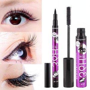 Black Mascara + Eyeliner Pencil Makeup Set Silk Fiber 2 in 1 Extend Thick Eyelash Slim Thick Curling Waterproof Cosmetics Kit