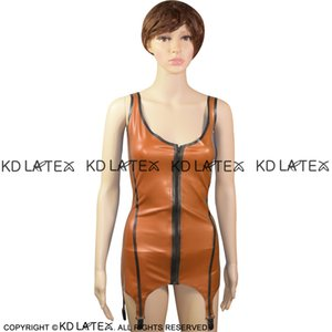 Sexy Latex Top Tank Shirt Rubber Undershirts Singlet With Garters Backless And Front Zipper 0034