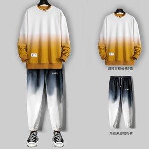 Cuello redondo Suéter degradado de hombre Traje casual Otoño 2020 Nueva tendencia coreana con traje de los hombres