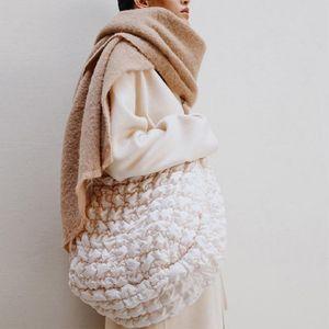 Purse Bag Casual Big Qvcnf Handbags Designer Capacity Shoulder Luxury Tote Crossbody Large Bags Cotton Female Spring Down Ruched Lurbo Noeu