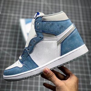 높은 점프맨 여성 농구 신발 남자 1 s 씻어 흰색 파란색 야외 스포츠