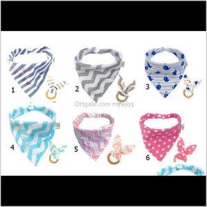20Set Baby Cotton Triangle Bib Teethers Set Bandana Kerchief Infant Saliva Pinafore Apron Wooden Chews Teeth Practice Toys Hwch Cloths Tuffv