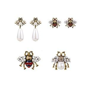 Kadın Marka Moda Sevimli Kristal Arılar Saplama Küpe Kadın Vintage Inci Küpe Emaye Hayvan Takı Düğün Brincos Aksesuarları