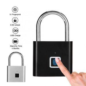 10 pieces pack Keyless Lock Portable Fingerprint Padlock Mini Anti-Theft Smart Padlocks USB Charging Security Locks for Wardrobe Cabinet Box