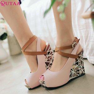 Women Pumps Wedge High Heel Shoes Platform Buckle Ladies PU Leather Woman Wedding Size 34-41 210515