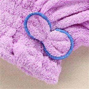 WholesalComfortable Textil Microfibra seca útil turbante de cabello rápido de toallas Wrap Toalels Tapas de baño Cap Cap de ducha 362 R2