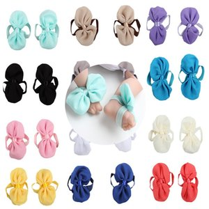 Baby Sandals Bowknot Shoes Cubierta descalzo Foot Chiffon Bow Lazs Infant Girl Niños Primero caminante Zapatos Photography Props 14 Colores 724 S2