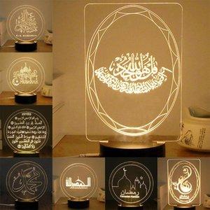 Eid Ramadan Decoração de Mubarak 3D LED Night Light Light Lâmpada Símbolo Muçulmano Símbolo Edifício Palavras Impressão para Decoração de Casa Decoração Presente