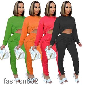 Spring and Autumn women Two-Piece set solid color Women's long SleeveTop And pants With Bandage Casual Sports Suit 2021 Tracksuits fashion802