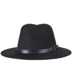 Stingy Brim Hats 2021 Fashion Men Fedoras Women's Jazz Hat Summer Spring Black Woolen Blend Cap Outdoor Casual X XL