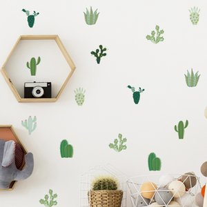 Plant Cactus Sticker Sticker Salle Décoration Style Pastoral Chambre à coucher Salon Fond de l'arrière-plan Décoration Mural Planchers Stickers