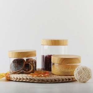 Garrafa plástica vazia Body200ml / 300ml 400ml 500ml Cozinha de recipiente de chá de tampa de madeira com garrafas de armazenamento de café W2E0 frascos