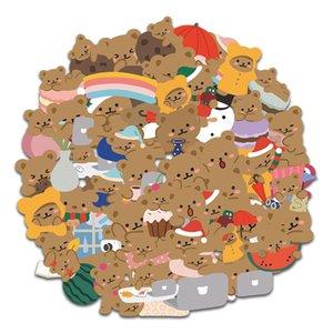 60 Korean style ins cartoon cute Skin Protectors brown bear rainbow girl heart phone computer suitcase helmet sticker