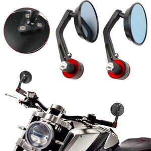 """Мотоцикл 7/8 """"Черное вращение Зеркало заднего вида круглые 22 мм руля бар заканчивается синее стекло складное собор зеркал всеобщий"""