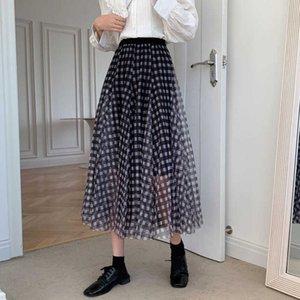 Skirts Plaid Mesh Women Elastic Waist Long Midi A-Line Spring Summer Vintage Harajuku Loose Office Lady Casual Z139 T9NL