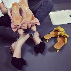 High Sweet Heels Slippers Knot Suede Slipper Sandals Bow Thin Toe Mules Shoes Pointed Big Women Rbhpm