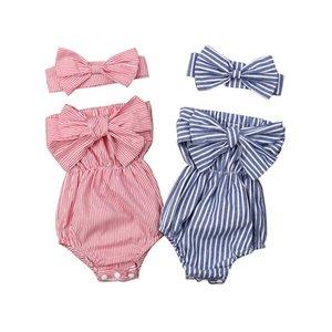 Budcoco новейшая мода новорожденного девочка одежда с плеча бандит посадка полосатый боди комбинезон повязки 2 шт. Набор 2320 v2
