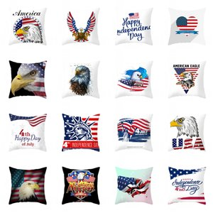 Pillow Cover 45*45cm American Independence Day Pillowcase Peach Skin Office Cushion Waist Home Decoration