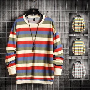 2021 Trendy mens hoodies couples casual Pullover long sleeve street Hip Hop Cotton Striped pattern loose fit womens designer hooded stylist sweatshirt S-3XL