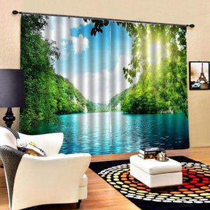 Curtain & Drapes Nature Scenery Green Print 3d Curtains Window Balcony Thickened Windshield Blackout