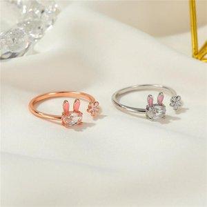 Coreano lindo conejo flores apertura anillo mujeres planta animal cristal anillos dedo regalos de cumpleaños fiesta fiesta accesorios de joyería al por mayor