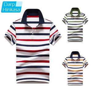 Darphinkasa rayado polo camisa hombres moda transpirable manga corta hombres negocio casual gran tamaño polo camisa hombres manga corta 210319
