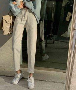 Calças de Streetwear Jqy4 Cintura alta Harem Calças para Mulheres Primavera Bolsos Soltos Denim Jeans Branco 2021 Jeans Novo Casual