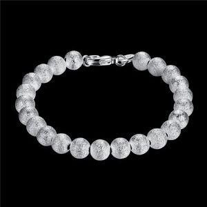 Sterling Silver Plated 8M sand bead Beaded, Strands Bracelet GSSB145 fashion 925 silver plate jewelry bracelets