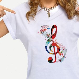 Color Music Womens Tops Notes Chemises de mode Graphique T-shirt Casual Famille Casual Look Ropa Esthétique À Manches courtes Summer Top Crewneck Edgy