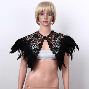 Victorian Real Natural Feather Cape Shrug Scialle Sciambia Avvolgibile Gothic Pizzo Collare ricamo con perla per cosplay Costume Party Sciarpe