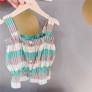 Vest Summer Cute Girls Cotton Thin Striped Vests Pure 2 Colors Casual Slip Waiscoats