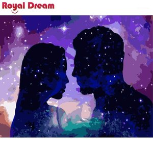 The stars lovers DIY Painting Kits Coloring Paint By Numbers Modern Wall Art Picture Gift1