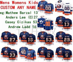 New York Islanders Hockey Jerseys Mathew Barzal Jersey Jean-Gabriel Pageau Anders Lee Casey Cizikas Andrew Ladd Hommes Blanc Blanc Customé