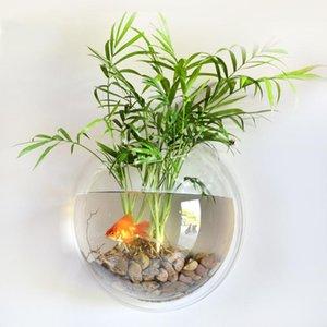 홈 장식 벽 마운트 물고기 탱크 금붕어 그릇 아크릴 교수형 수족관 화분 꽃병 화분 냄비