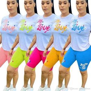 Women tracksuits sport suits Designers Clothes 2021 fashion letter print T-shirt 2-piece set Girl Printed Top summer dresses