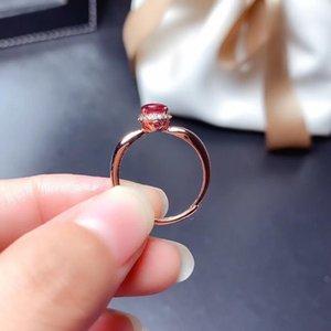 Mode Ring Weainy Natürliche Rubin S925 Sterling Silber Rose Gold Red Edelstein Schmuck Ringe N1