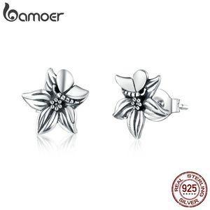 Bamoer GXE887 925 Ayar Gümüş Retro Çiçek Saplama Küpe Kadınlar Için Kelebek Çiçek Vintage Stil Güzel Takı ARETE