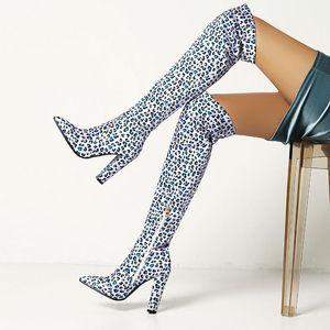 Boots Classic Leopard Sexy Europe America Стиль на колене Женщины Высокие каблуки Обувь Дамы Бедра Зима Долго