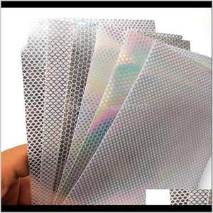 Baits Lures Fishing Sports & Outdoors Drop Delivery 2021 6Pcs 20*10Cm Holographic Fish Scale Sticker Fly Tying Rainbow Flash Film Squid Jig D