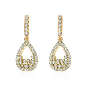 Dangle & Chandelier Elegant Drop-Shaped Hollow Earrings Female Inlaid Stone Gift Fashion And Generous Refinement