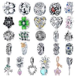 WOSTU Flower Charms 925 Sterling Silver Tree Of Life Beads Enamel Pendant DIY Jewelry Making Bracelet Necklace For Women