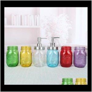 Liquid Soap Dispenser Pump Glass Jar Bottle Stainless Steel Lid Dispensers Countertop Lotion Bathroom Storage Tool Sea Ewe851 V2Xn Oqsuj