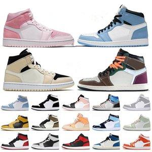2021 Jumpman 1 Shoes Retro Mens Womens High Prototype Dark Mocha Jordon Mid Dutch Green White Shadow Sneakers Trainers